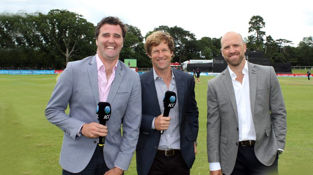 Winning team: Former Ireland star Kyle McCallan with his commentating colleagues Jonty Rhodes and Matt Prior