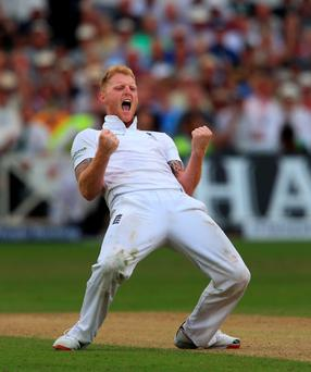 He's out: Ben Stokes after trapping Peter Nevill lbw