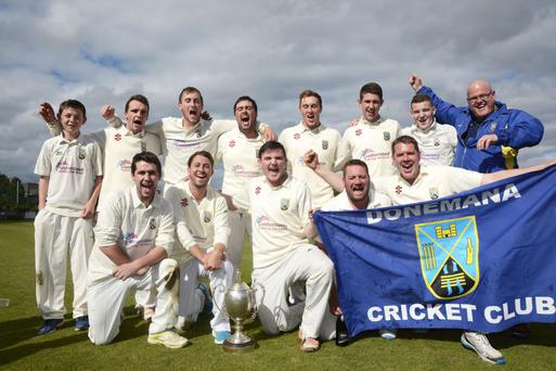 Triumphant: the Donemana team celebrate winning their fourth straight Danske Banke Senior Cup after defeating Eglinton