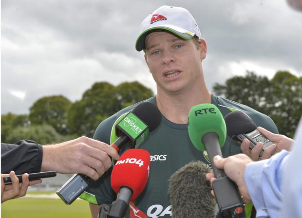 Good to talk: Australia's new captain Steve Smith faces the media yesterday at Stormont