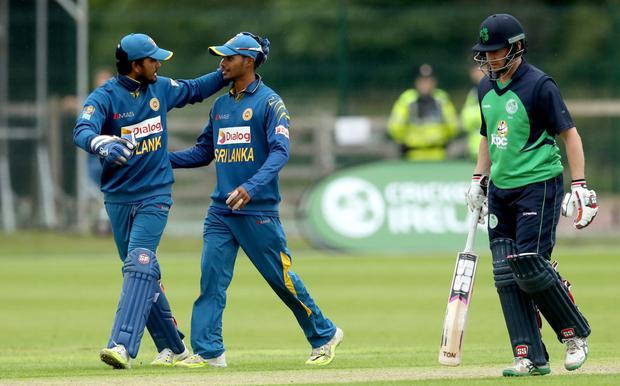 Howzat: Sri Lanka's Dananjaya de Silva and Dinesh Chandimal celebrate another wicket at Malahide on way to victory