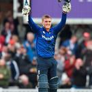 Man of the moment: Jason Roy salutes his 162 in England's triumph