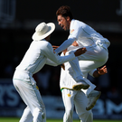 Jumping for joy: Pakistan bowler Mohammad Amir celebrates after bowling Stuart Broad