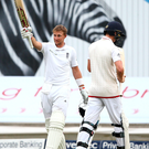 Earning his stripes: Joe Root was unbeaten on 141 at stumps