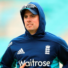 Focused: Alastair Cook during a nets session at The Oval yesterday
