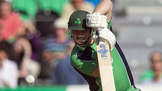 Ireland opener Paul Stirling fell second ball as Pakistan recorded a huge win in Dublin
