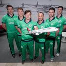Flying high: Internationals Peter Chase, Kevin O'Brien, Ed Joyce, John Anderson, Andrew Balbirnie and George Dockrell at the announcement of Turkish Airlines' sponsorship of the Ireland team
