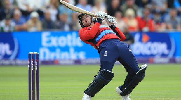 England's Jason Roy plays an ambitious shot