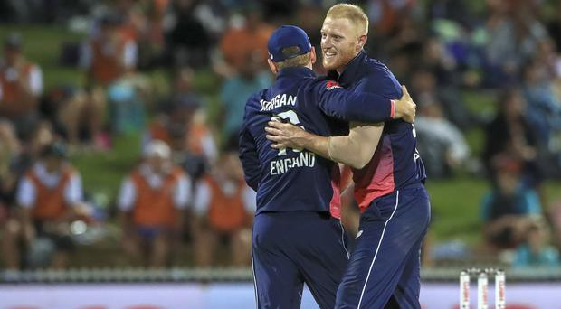 Ben Stokes celebrates taking the wicket of Colin de Grandhomme
