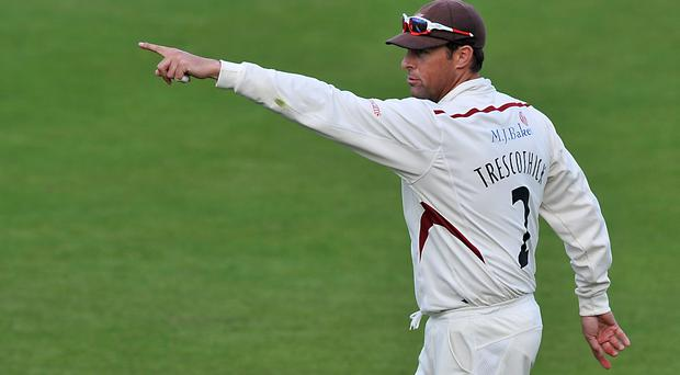 Marcus Trescothick had a knock in the snow at Taunton