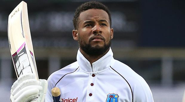 Shai Hope celebrates his match-winning performance at Headingley