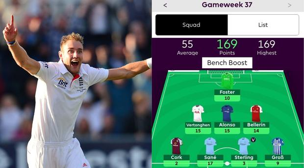 England cricketer Stuart Broad and a screenshot of his fantasy football team