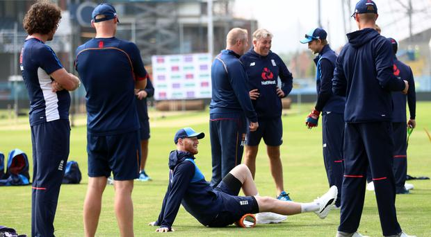 Ben Stokes, centre, has a hamstring problem (Tim Goode/PA)