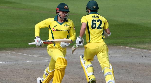 Australia's Marcus Stoinis (left) guided them to victory at Sussex (Mark Kerton/PA)