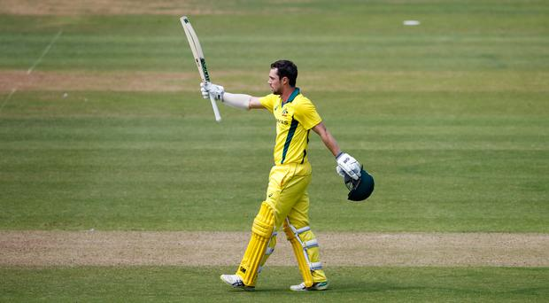 Australia's Travis Head celebrates his century (John Walton/PA)