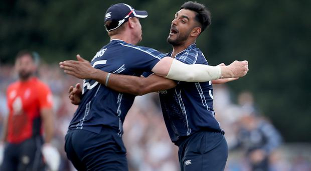 Alasdair Evans and Safyaan Sharif celebrate beating England (Jane Barlow/PA)