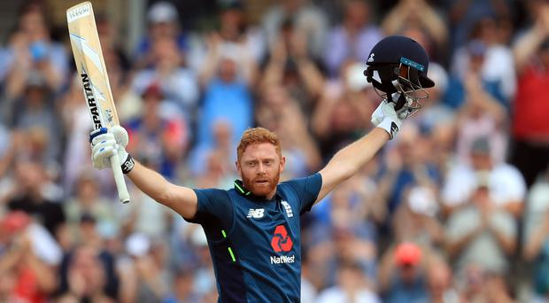 Jonny Bairstow celebrates his century (Mike Egerton/PA)