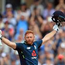 Jonny Bairstow celebrates reaching his century (Mike Egerton/PA)