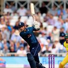 Alex Hales struck 147 as England posted a new world record total in the one-day international against Australia at Trent Bridge. (Mike Egerton/PA)