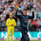 England's Jason Roy celebrates his century during the One Day International match at the Emirates Riverside, Chester-le-Street. (Richard Sellers/PA)
