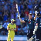 England's Jos Buttler salutes the fans as he celebrates his 100 (Mike Egerton/PA)