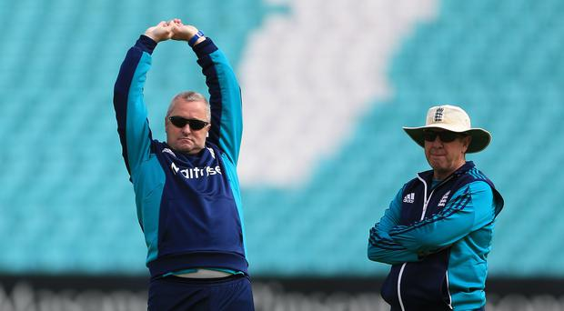 Paul Farbrace (left) is interested in succeeding Trevor Bayliss (right) next year (Nigel French/PA)