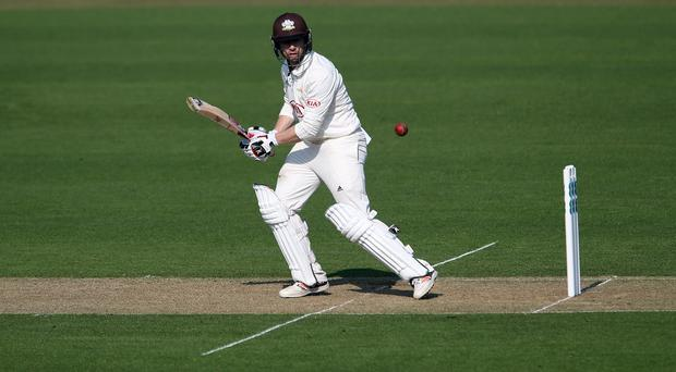 Surrey's Mark Stoneman was unhappy after he was given out caught behind (Steven Paston, PA)