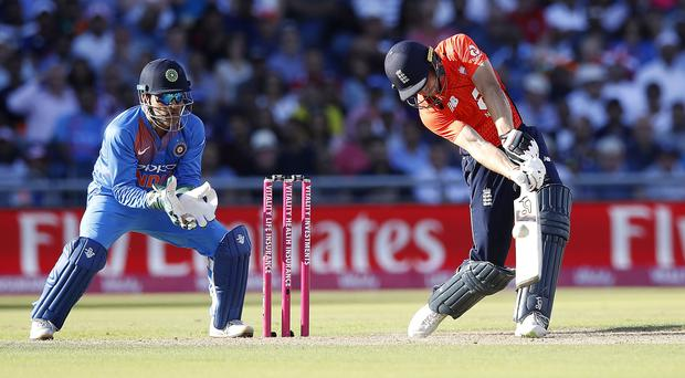 Jos Buttler in action during the Vitality IT20 series opener against India at Old Trafford (Martin Rickett/PA Wire)