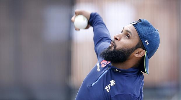 England's Adil Rashid bowls during the nets session at Emirates Old Trafford, Manchester.