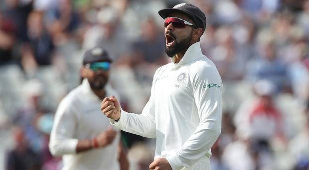India captain Virat Kohli could be in trouble after his celebration following his dismissal of Joe Root (Nick Potts/PA)