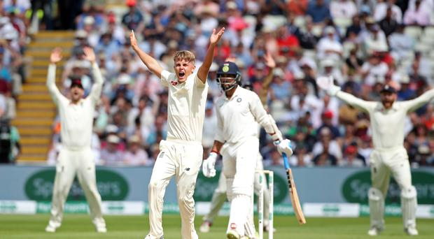 England's Sam Curran took four wickets before tea against India at Edgbaston (Nick Potts/PA)