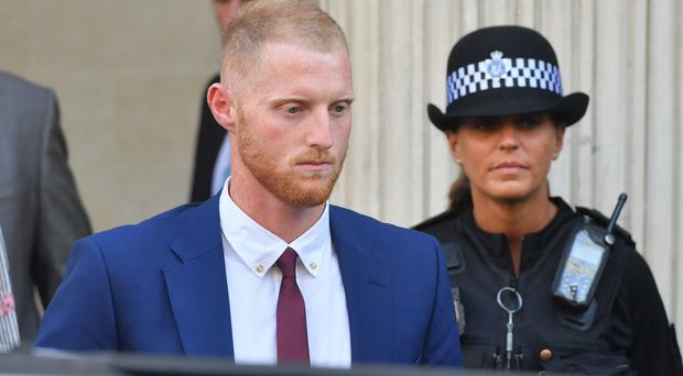 England cricketer Ben Stokes leaves Bristol Crown Court (Ben Birchall/PA)