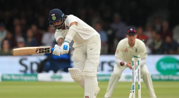 Murali Vijay, pictured, is bowled by James Anderson (Adam Davy/PA)