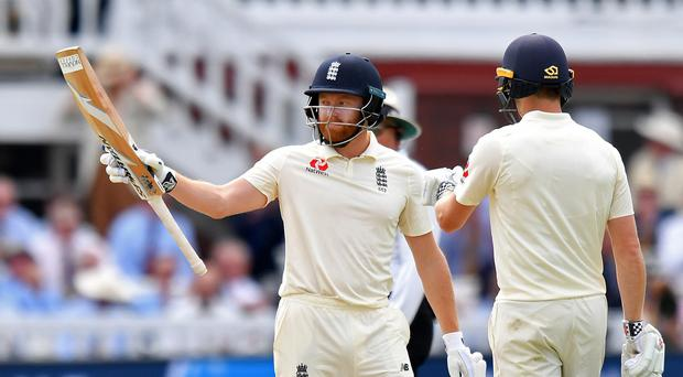 Jonny Bairstow reached his half-century as England built on a first-innings lead against India (Anthony Devlin/PA)