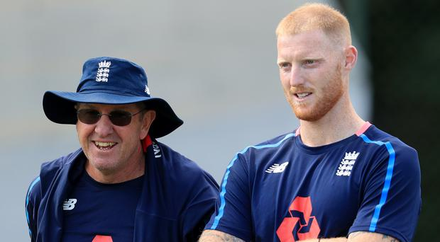 Trevor Bayliss, left, says a decision has not been made on whether Ben Stokes will make his England return at Trent Bridge (Mike Egerton/PA)