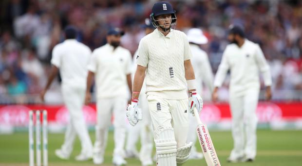 Captain Joe Root was one of 10 England batsmen to lose their wickets in an afternoon session which saw momentum swing towards India (Tim Goode/PA Images)
