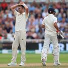James Anderson was frustrated as England's bowlers failed to make a breakthrough before lunch on day three (Mike Egerton/PA)