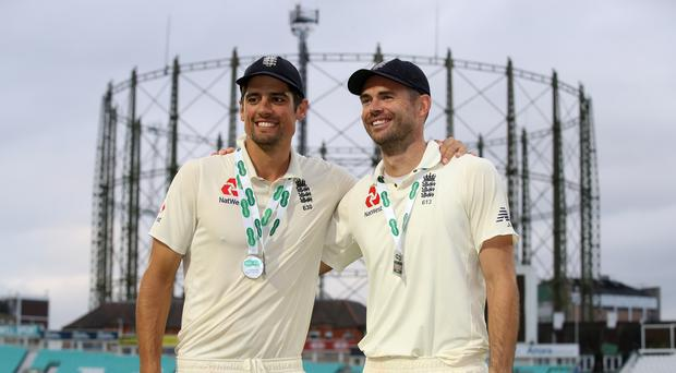 Great mates and record-breakers: Alastair Cook and James Anderson during the Oval Test (Adam Davy/PA Wire)