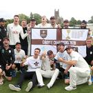 Surrey celebrate victory over Worcestershire and clinching the Specsavers County Championship title at Blackfinch New Road, Worcester.