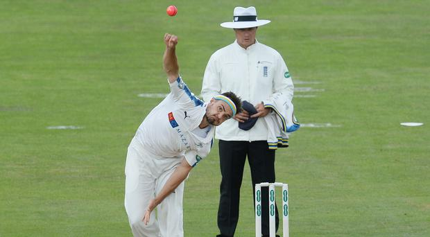 Jack Brooks helped Yorkshire secure their Division One status with five wickets against Worcestershire (Anna Gowthorpe/PA)