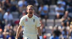 Stuart Broad took a hat-trick on day two of the warm-up match (Adam Davy/PA)