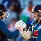 Eoin Morgan, right, and Joe Root, left, will hope to guide England to World Cup glory (Danny Lawson/PA)