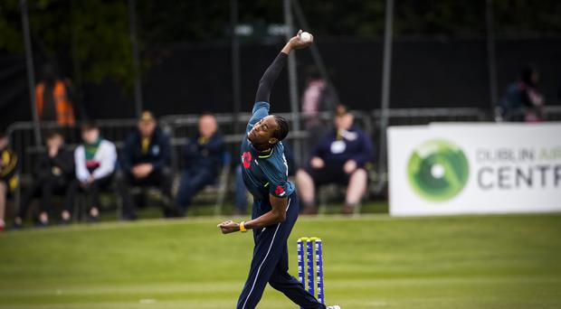 Jofra Archer claimed his first international wicket with a superb yorker (Liam McBurney/PA)