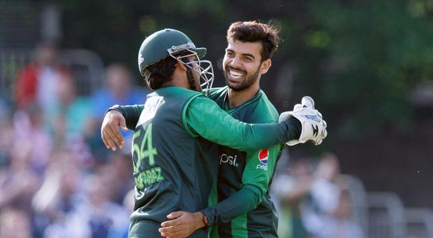 Shadab Khan (right) is ready to return to the World Cup squad (Robert Perry/PA)