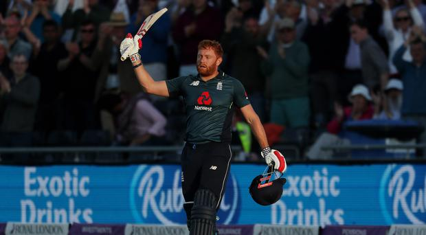 England's Jonny Bairstow acknowledges the crowd during his 128 against Pakistan in Bristol (David Davies/PA)