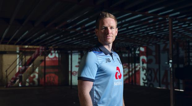 England captain Eoin Morgan in the new World Cup kit (New Balance/Handout).