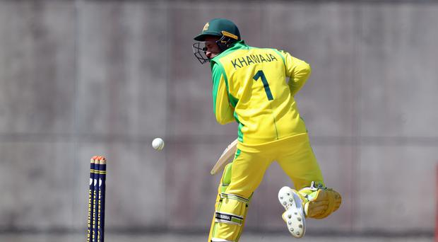Australia's Usman Khawaja was struck on the jaw by an Andre Russell delivery (Andrew Matthews/PA)
