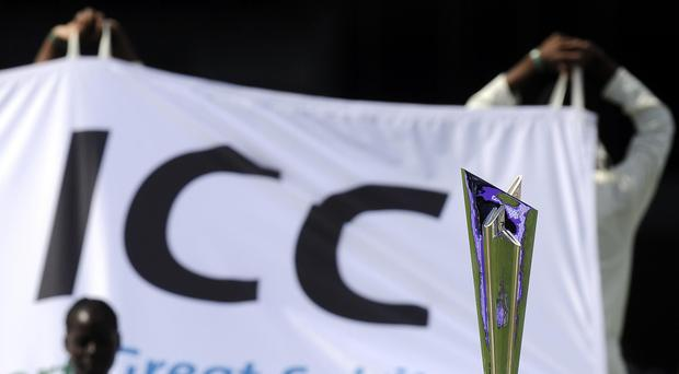 The ICC World Cup Trophy at the Kensington Oval, Bridgetown, Barbados.