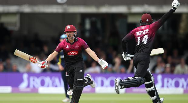 Somerset's James Hildreth celebrates scoring the winning run during the Royal London One-Day Cup final at Lord's (Tim Goode/PA)