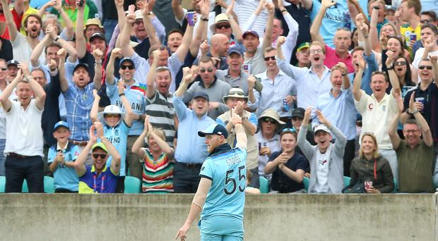 England's Ben Stokes celebrates his stunning catch (Nigel French/PA)